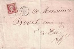 DROME - CREST - LE 13 JANVIER 1857 - EMPIRE N°17A - OBLITERATION PC POUR DIE - ENVELOPPE SANS TEXTE. - 1849-1876: Classic Period