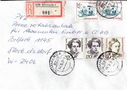! 1 Einschreiben 1993  Mit Alter Postleitzahl + DDR R-Zettel  Aus 5230 Sömmerda, Dauerserie Frauen - Storia Postale
