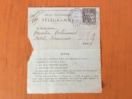 Lettre Télégramme 1892.Grand Hôtel De Paris - France