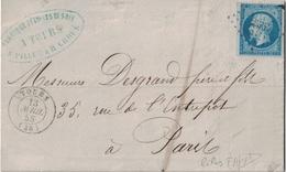 INDRE ET LOIRE - TOURS - LE 13 AVRIL 1858 - EMPIRE - N°14Ac BLEU SUR LILAS - SIGNATURE CALVES . - 1849-1876: Classic Period