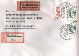 ! 1 Einschreiben Rückschein 1993  Mit Alter Postleitzahl + DDR R-Zettel  Aus 5321 Apolda Grossheringen Dauerserie Frauen - Briefe U. Dokumente