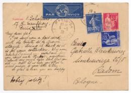 Entier Postal 363-CP1 Type Paix 1fr Rose 1938 Par Avion France-Pologne + 2 Autres Timbres Paix 65c Et Semeuse 10c - Biglietto Postale