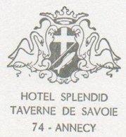 95Ch  74 Annecy Encart Avec 2 Cartes Hotel Splendid Taverne De Savoie En TTBE (pas Courant) - Annecy