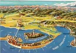 1 Map Of Italy * 1 Ansichtskarte Mit Der Landkarte Der Insel Barbana Und Ihrer Umgebung In Der Lagune Von Grado * - Landkarten