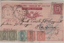 Italien - 10 C./4 Lire Ganzsache Postanweisung + Zusatz Caldogno - Ravenna 1893 - Italia