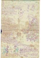 """Feuillet Impression Carbone 197 X 310 Mm - Chanson De Poilus """"La Scevollette"""" Air : Tout Le Long Du Corridor, 4 Couplets - Documents"""