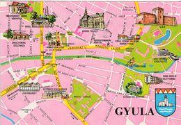 1 Map Of Hungary * 1 Ansichtskarte Mit Der Landkarte Der Stadt Gyula Und Dem Wappen Der Stadt * - Landkarten