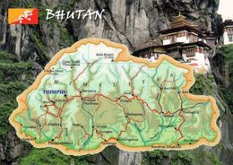 1 Map Of Bhutan * 1 Ansichtskarte Mit Der Landkarte Von Bhutan Und Der Flagge * - Landkarten
