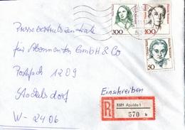 ! 1 Einschreiben 1992  Mit Alter Postleitzahl + DDR R-Zettel  Aus 5321 Apolda, Thüringen,  Dauerserie Frauen - Storia Postale