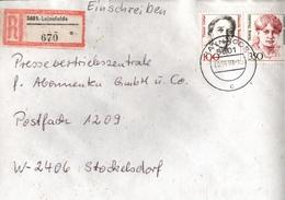! 1 Einschreiben 1993  Mit Alter Postleitzahl + DDR R-Zettel  Aus 5601 Leinefelde, Thüringen,  Dauerserie Frauen - Briefe U. Dokumente