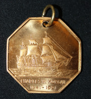 """Rare Médaille Pendentif Du Navire Américain """"Charles W. Morgan / 1841-1921"""" Voilier Baleinier - Pêche à La Baleine - Professionnels/De Société"""