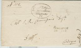 """REGNO LOMBARDO VENETO-PREFILATELICA""""BORGHETTO-CODOGNO"""",1848-TIMBRO BORGHETTO LINEARE/OVALE - LODI- COMPLETA DI TESTO, - Italia"""
