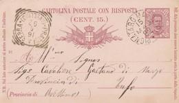 Pignataro Maggiore. 1892. Annullo Grande Cerchio  PIGNATARO MAGGIORE, Su Cartolina Postale Completa I Testo - 1878-00 Humberto I