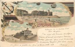 Belgique - Ostende - Type Gruss Aus - La Plage Et La Digue - Le Palais Du Roi - N° 2079 - Oostende