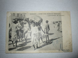 CPA Cpsm  Afrique Africa DJIBOUTI  VILLAGE SCENE MARIAGE SOMALIS 1905 GP ANIME 5 TAMPON PAD OBL MAUVAIS ETAT - Gibuti