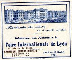 (119)  Carte Calque Foire De Lyon  1931   (10.5X9cm)   (Bon Etat) - Lyon