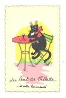 """"""" A Votre Bonne Santé Du Pont De Villette """" - Illustrateur Lens - Chat En Train De Boire Un Verre à La Terrasse.  (b256) - Lierneux"""