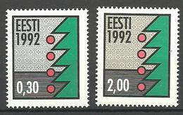 Estonia 1992 Christmas, Mi 195-196 Gum Invisible, MNH(**) - Estonie
