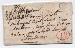 """Cursive 77 La Pointe St Sulpice Tarn, 30 XI 1836 Pour Toulouse +boite Rurale """"B"""" Bessiéres + Cachet 1D Rouge - Postmark Collection (Covers)"""