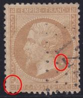 N°21 Deux Grosses Taches Blanches Grecque Et Nuque, TB - 1862 Napoleone III