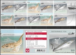 AUSTRALIA , 2019, MNH, FISH, SUSTAINABLE FISHING, SHIPS,SELF-ADHESIVE BOOKLET OF 10v - Pesci