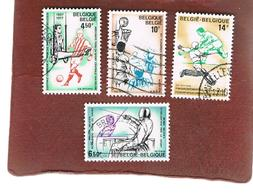 BELGIO (BELGIUM)   - SG 2500.2503  - 1977  SPORTS EVENTS (COMPLET SET OF 4) - USED - Usati