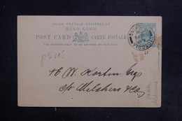 HONG KONG - Entier Postal Commerciale ( Repiquage Au Dos ) De Hong Kong En 1908 - L 36696 - Postal Stationery