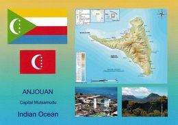 1 AK Komoren * Flagge, Wappen, Landkarte Der Insel Anjouan Und 2 Aufnahmen Der Komoren * - Comoros