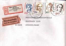 ! 1 Einschreiben Rückschein 1992 Mit Alter Postleitzahl + DDR R-Zettel  Aus 7152 Böhlitz Ehrenberg, Sachsen - Storia Postale
