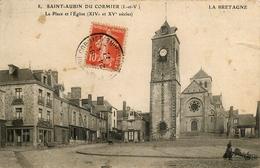 Saint Aubin Du Cormier * La Place Et L'église * Café - France