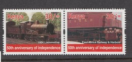 2013 Kenya  Locomotives Trains  (from Sheet Of 25 Independence Stamps) - Much Cheaper Than Buying Sheet!!!  Pair MNH - Trains