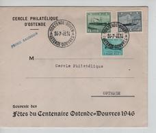 SJ128/ TP 725/727 Centenaire Ostende Douvres S/L.c.Oostende-Dover 24/7/46 Griffe Prince Baudouin > Ostende - Covers & Documents