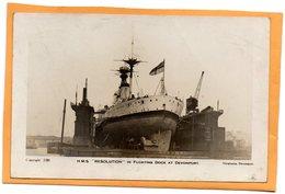 HMS Resolution UK Old Real Photo Postcard - Warships