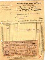 Factures . Provencheres Sur Fave .  Vins Et Spiritueux  Albert Cunin  1935     (Bon Etat) - Alimentaire