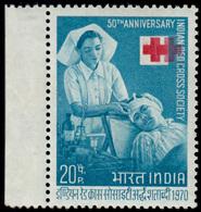 India 1970 Anniversary Of India Red Cross 20p Red And Greenish Blue, Wmk Ashokan Capital Type 374 Sideways, Perf 13x13 ½ - India (...-1947)