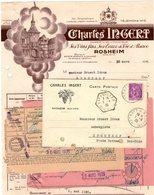 Factures .  Rosheim  .  Charles  Ingert  Vins D' Alsace  1935     (Bon Etat) - Alimentaire