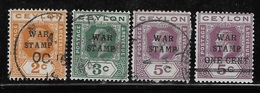 Ceylon 1918 War Tax Stamps 4v Used - Ceylon (...-1947)