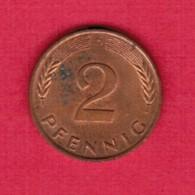 """GERMANY  2 PFENNIG 1990 """"D"""" (KM # 106a) #5326 - [ 7] 1949-… : FRG - Fed. Rep. Germany"""