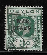 Ceylon 1918 War Tax Stamps 3c Used - Ceylon (...-1947)