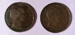*Lote De Dos (2) Monedas De Venezuela. Un Centavo De 1858 (Libertad Incuso) Y Un Centavo De 1858 (Libertad En Relieve) - Venezuela