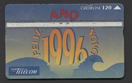 PORTUGAL   (Holográfico) - Feliz Ano Nova 1996    USED -  2 Scans. - Portugal