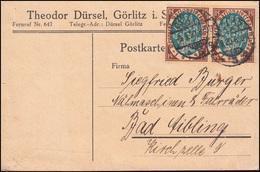 108 Nationalversammlung Paar MeF Postkarte GÖRLITZ 9.9.20 Nach Bad Aibling - Deutschland