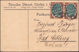 108 Nationalversammlung Paar MeF Postkarte GÖRLITZ 9.9.20 Nach Bad Aibling - Germania