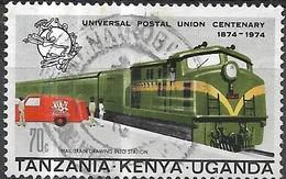 KUT 1974 Centenary Of UPU - 70c - Mail-train And Post-van FU - Kenya, Uganda & Tanzania