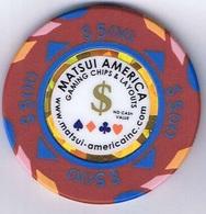 Casino Chip Fiche $ 500 No Cash Value Matsui America US - Casino