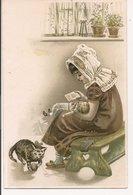 L60A055 - Portrait De Fillette Avec Son Poupon Et Son Chat - Carte Gauffrée Et Précurseur - Dessins D'enfants