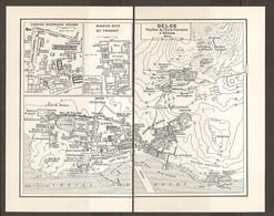 CARTE PLAN 1953 - GRECE GRECIA GREECE - DELOS FOUILLES De L'ECOLE FRANCAISE D'ATHENES MAISON Du TRIDENT HIERON D'APOLLON - Topographical Maps