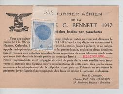 SJ136/ Courrier Aérien De La Coupe G.Bennett 1937 Avec Vignette Ballon Numérotée Message CP Perdue à Regensburg - Airmail