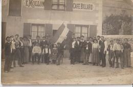 MULLERON - Commune De JANVRY - Café Billard E. MOLLON. Fête Du Cochon à Janvry  Inscrit Sur Le Drapeau ( Carte Animée ). - Autres Communes