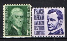 STATI UNITI - 1968 - PERSONALITA': THOMAS JEFFERSON E FRANCIS PARKMAN - MNH - Stati Uniti